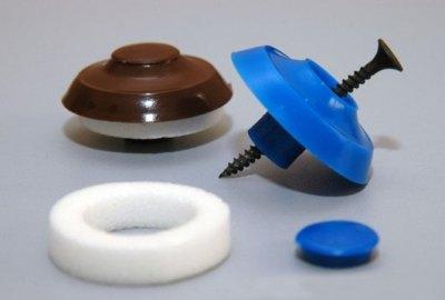 Фото специального самореза с термошайбой, применяемого для монтажа поликарбоната