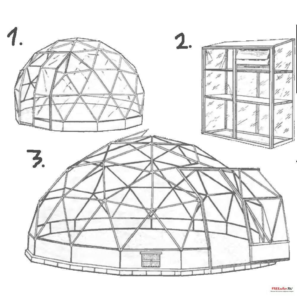 Схема парника из рам круглой формы