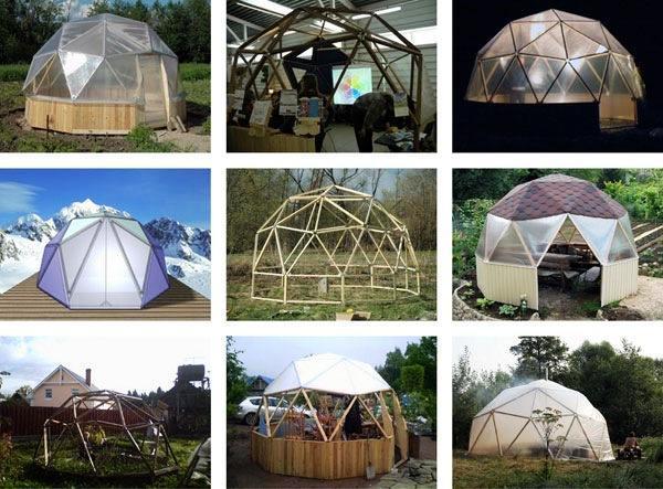 Пример конструкции «геодезический купол», материалы для строительства