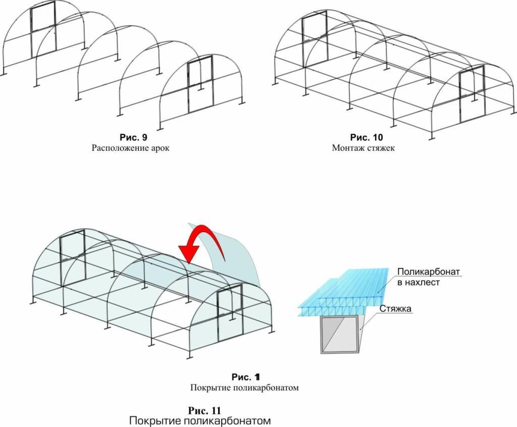 Пример теплицы из труб, материал поликарбонат