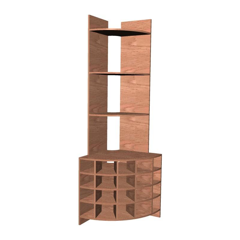 Комбинированный угловой стеллаж из дерева