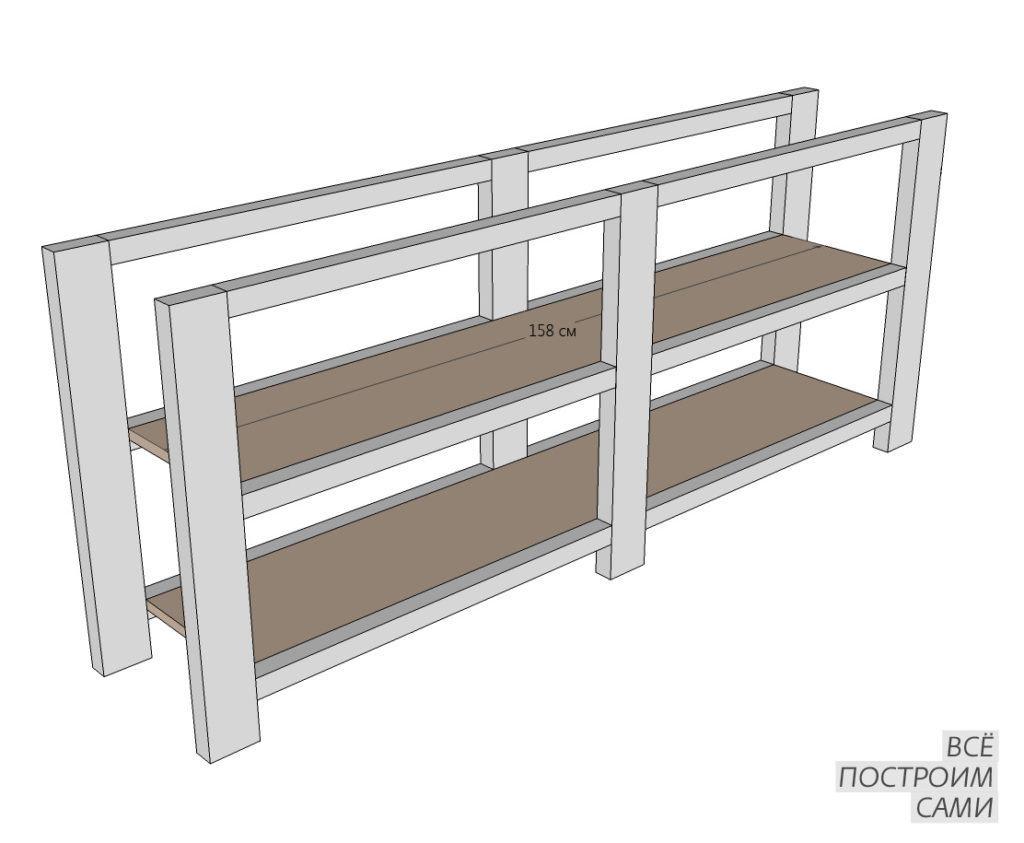 Усиленная конструкции деревянного стеллажа