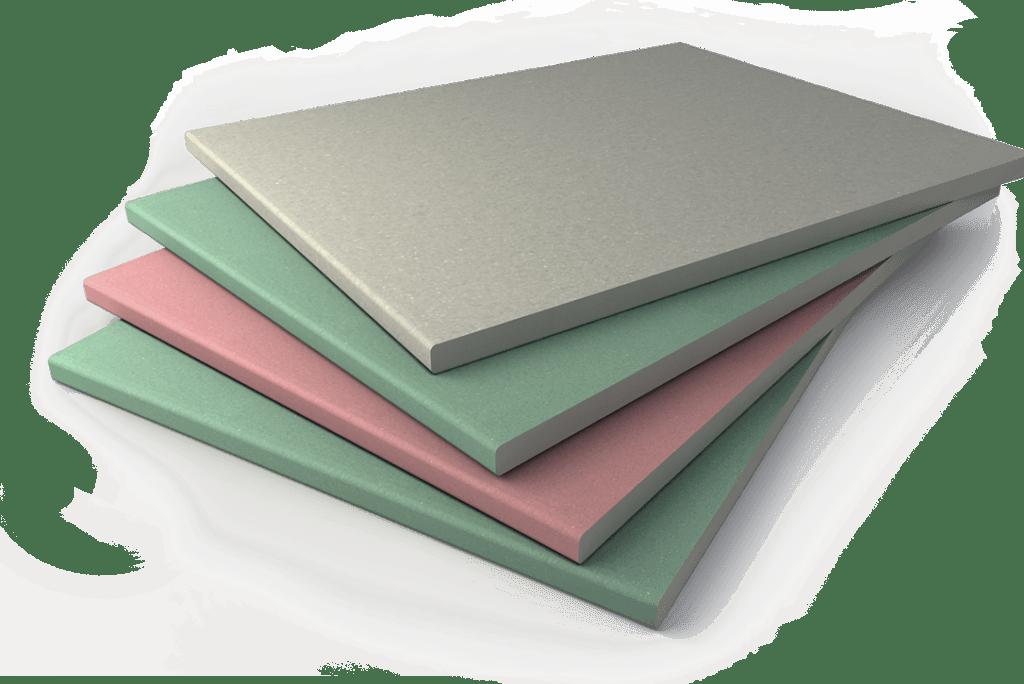 Листы гипсокартона с различными техническими характеристиками, которые для наглядности выделяются разными цветами