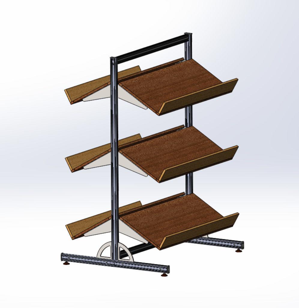 Интересная конструкция разборного металлического стеллажа, идеально подходящая для использования в теплицах для хранения всяких мелочей