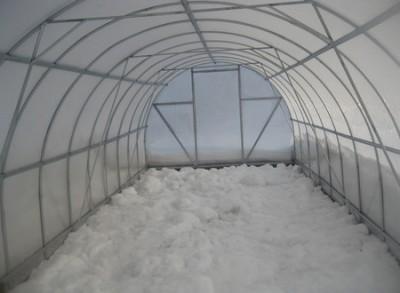 Зимой теплицу рекомендуется загрузить снегом для защиты от промерзания и оздоровления грунта.