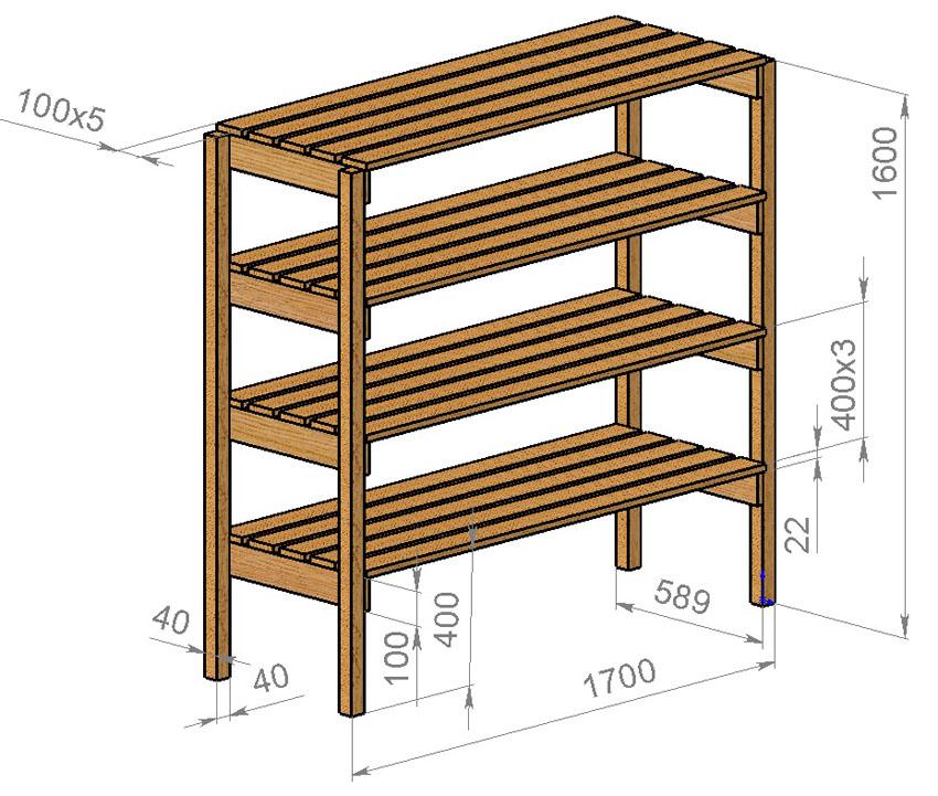 Деревянный стеллаж своими руками чертежи 73