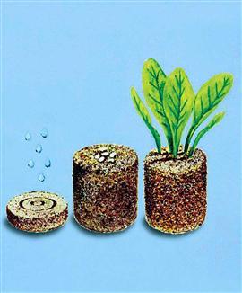 Saturato con acqua, la tavoletta aumentando di volume più volte